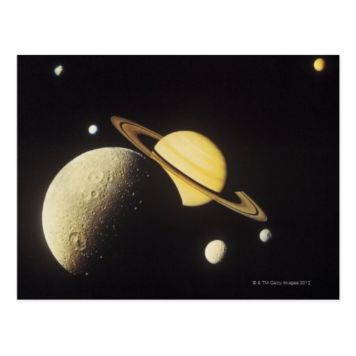 view of planets in the solar system postcard