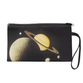 view of planets in the solar system wristlet purse