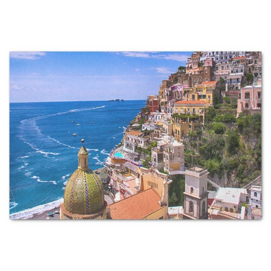View Of Positano, Italy Decoupage Tissue Paper