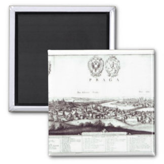 View of Prague, 1649 2 Inch Square Magnet