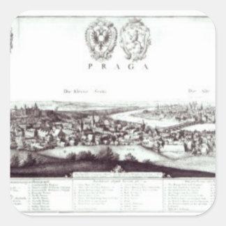 View of Prague, 1649 Square Sticker