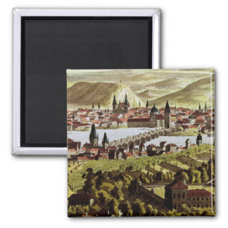 View of Prague 2 Inch Square Magnet