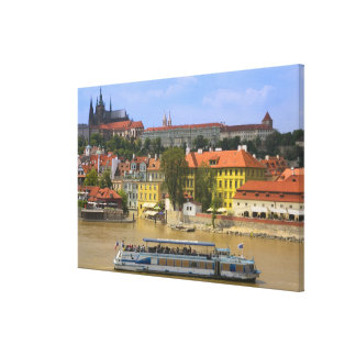 View of Prague Castle and town by Vltava Canvas Print