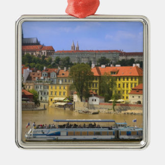View of Prague Castle and town by Vltava Square Metal Christmas Ornament