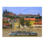 View of Prague Castle and town by Vltava Postcard