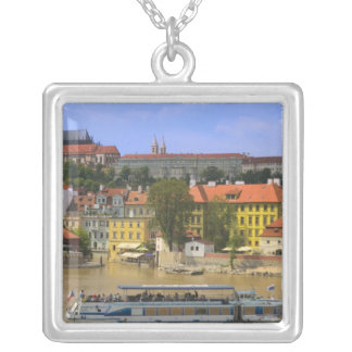 View of Prague Castle and town by Vltava Square Pendant Necklace