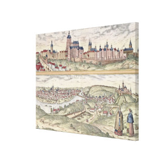 View of Prague showing (above) the Imperial Palace Canvas Print