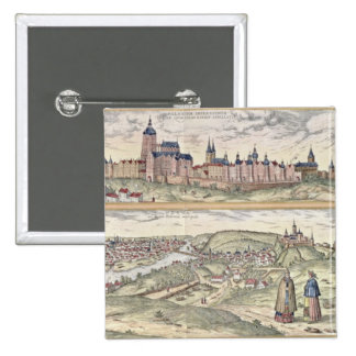 View of Prague showing (above) the Imperial Palace Pinback Button
