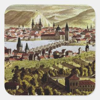 View of Prague Square Sticker