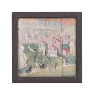 View of Prato City, detail from the Crucifixion, f Keepsake Box