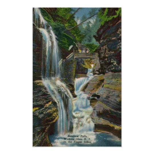 View of Rainbow Falls and Bridge Poster
