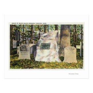 View of Ralph Waldo Emerson Gravestone Postcard