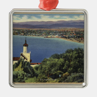 View of Redondo & Hermosa Beaches Square Metal Christmas Ornament