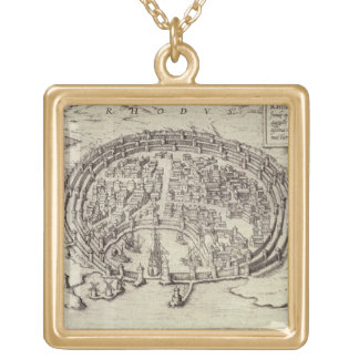 View of Rhodes, from 'Theatre of the Main Towns in Custom Necklace
