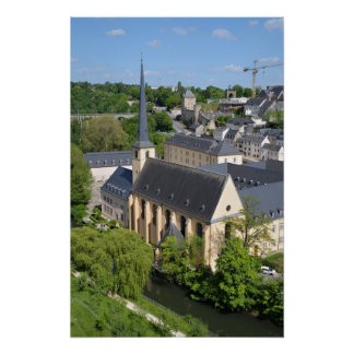 View of river and a bridge in center of Luxembourg Poster