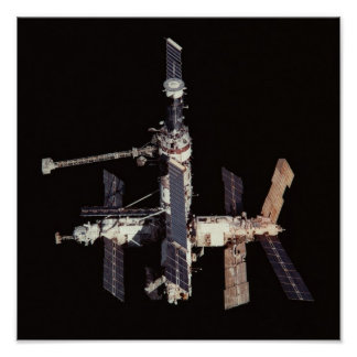 View of Russian Mir Space Station from Discovery Poster