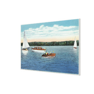 View of Sail and Motor Boats on Owasco Lake Canvas Print