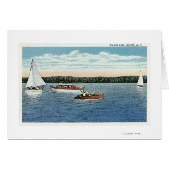 View of Sail and Motor Boats on Owasco Lake Card