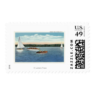 View of Sail and Motor Boats on Owasco Lake Postage Stamp