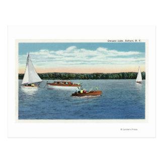 View of Sail and Motor Boats on Owasco Lake Postcard