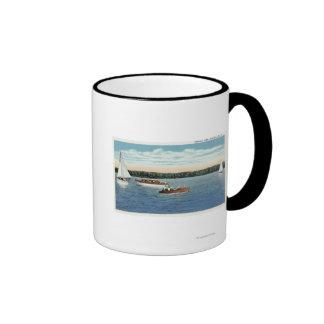 View of Sail and Motor Boats on Owasco Lake Ringer Mug