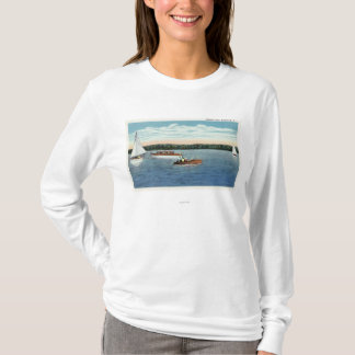 View of Sail and Motor Boats on Owasco Lake T-Shirt