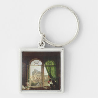 View of Saint-Eustache Church Silver-Colored Square Keychain