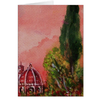 VIEW OF SAINT MARY OF FLOWER FLORENCE IN SUNSET CARDS