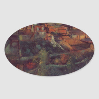 View of Saint-Valery-sur-Somme by Edgar Degas Oval Sticker