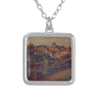 View of Saint-Valery-sur-Somme by Edgar Degas Silver Plated Necklace