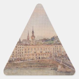 View of Salzburg by Rudolf von Alt Triangle Sticker