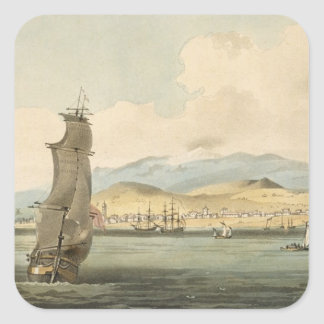 View of Santa Cruz, plate 3 from 'A Voyage to Coch Square Sticker