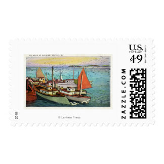View of Sea Gulls and Ships at the Wharf Postage