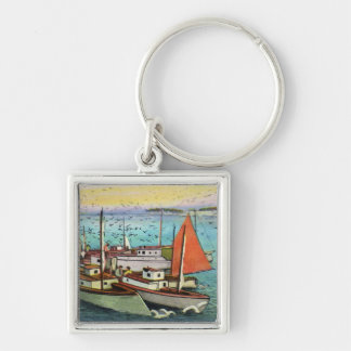 View of Sea Gulls and Ships at the Wharf Silver-Colored Square Keychain