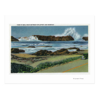 View of Seal Rock in between Waldport and Postcard