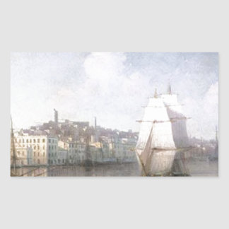View of seaside town by Ivan Aivazovsky Rectangular Sticker