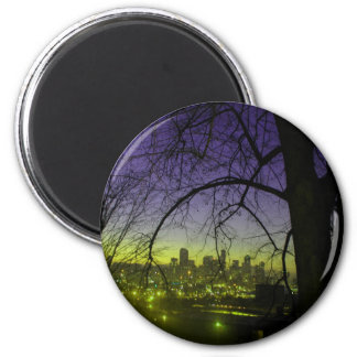 View of Seattle at dawn 2 Inch Round Magnet