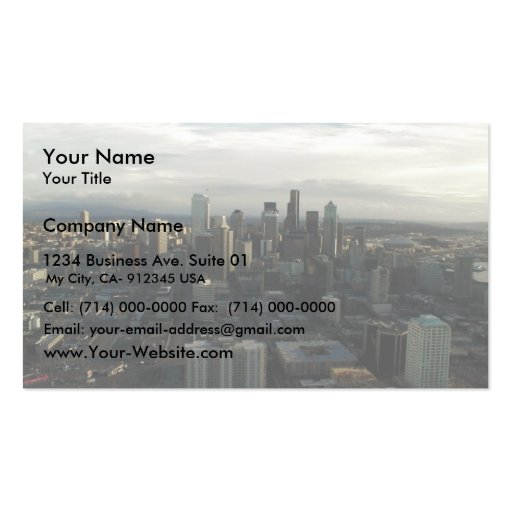 View Of Seattle City From Top Of Space Needle Business Cards