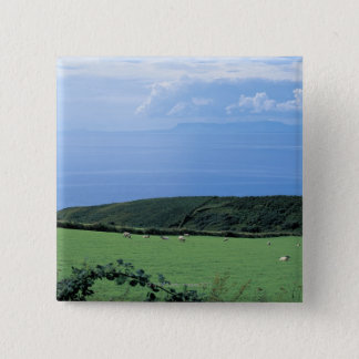 view of sheep grazing on lush hillside button