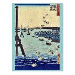 View of Shiba Coast by Ando, Hiroshige Ukiyoe Postcards