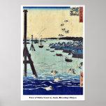 View of Shiba Coast by Ando, Hiroshige Ukiyoe Poster