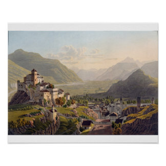View of Sion, illustration from 'Voyage Pittoresqu Poster