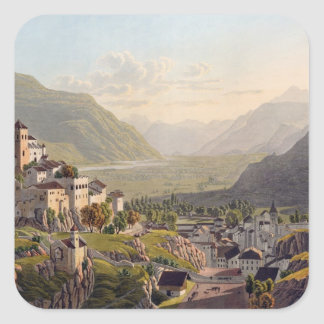 View of Sion, illustration from 'Voyage Pittoresqu Square Sticker