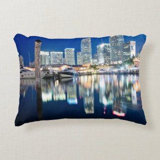 View of skyline with reflection in water, Miami Accent Pillow