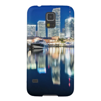 View of skyline with reflection in water, Miami Case For Galaxy S5