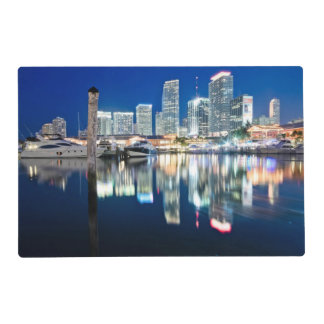 View of skyline with reflection in water, Miami Placemat