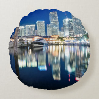 View of skyline with reflection in water, Miami Round Pillow