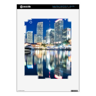 View of skyline with reflection in water, Miami Decal For iPad 3