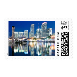 View of skyline with reflection in water, Miami Stamp