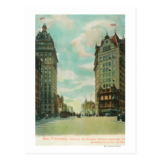 View of Skyscrapers that Survived 1906 Postcard